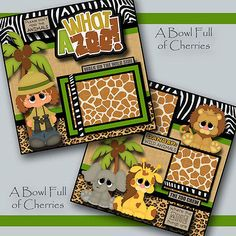 WHAT A ZOO ~ girl 2 premade scrapbook pages 3D paper piecing layout album CHERRY