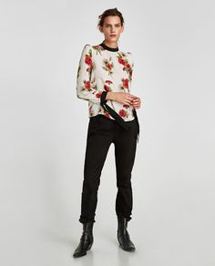 Image 1 of CONTRASTING BLOUSE WITH SHOULDER PADS from Zara