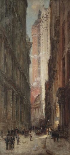 Colin Campbell Cooper (American, 1856-1937),Liberty Street Crevasse, N.Y.C., 1910. Oil on canvas, 99.1 x 46 cm.