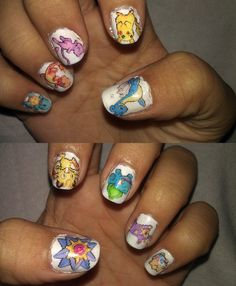 Get these by using the rubbing alcohol method to print the image to the nails