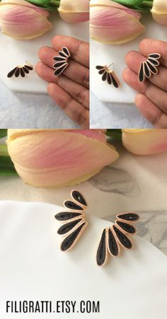 Looking for gifts for best friends ? Checkout these statement earrings that will surely impress the gift receiver. Make your best friend feel special with these one of a kind black earrings studs that are classy & chic. Click through the link to checkout more such unique earrings. #statementearrings #blackearringsstudsclassy #uniqueearrings #giftsforbestfriends #trendyjewelry #minimalistearrings #bohoearrings. Paper Quilling Jewelry, Paper Earrings, Art Deco Earrings, Unique Earrings, Boho Earrings, Black Stud Earrings, Trendy Fashion Jewelry, Bridesmaid Earrings, Gold Flowers