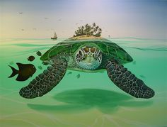 Look closely, the giant sea turtles shell, flippers, the tree ...