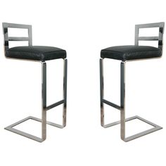 Pair Of Pace Collection Leather And Steel Barstools at 1stdibs