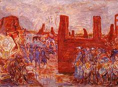 The only war painting by Pierre Bonnard. Left unfinished. Un village en ruines près du Ham (A Village in Ruins near Ham), 1917, oil on canvas.