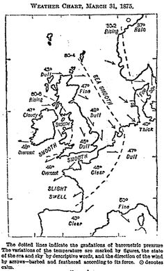 APRIL 1, 1875:  The first newspaper weather map was published in The T imes by Francis Galton.  image:  Francis Galton: Meteorologist