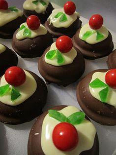 Mini Christmas Puddings! Fun Kiwi Christmas Dessert/Supper/Morning tea idea.  Mallowpuff, melted white chocolate, Jaffas and a few green gummy lollies