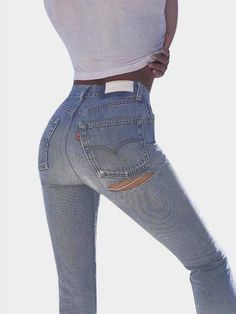 High-rise jeans with butt ripped details for a modern-vintage look by Yoins. In washed + worn denim with a regular fit and finished with 5 pockets and button zipper fly. Perfect to completed your street look with crop top. #jean#chic#fashion#style#sexy