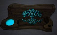 Live edge walnut cheese board with a Celtic tree pattern