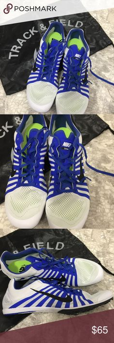 Nike Zoom D Men Track Field Spikes Distance Run 13 New no box ., no tags Nike Zoom D Mens Track & Field Spikes Distance Running Shoes  White Blue  Sz 13  sellers ref: R Nike Shoes Athletic Shoes