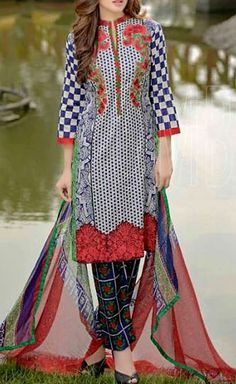 Buy Blue/White Embroidered Cotton Lawn Dress by Combinations 2016 Pakistani Lawn Suits, Pakistani Dresses, Buy Salwar Kameez Online, Pakistani Designers, Online Collections, Women Wear, Ladies Wear, Indian Wear, Indian Outfits