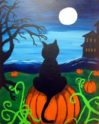Fall painting of black cat sitting in pumpking field created for canvas painting class in Norman, OK. Halloween Canvas, Halloween Painting, Halloween Art, Happy Halloween, Autumn Painting, Autumn Art, Fall Paintings, Beach Paintings, Acrylic Paintings