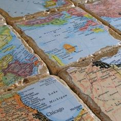 DIY idea :: Make coasters with the map of the places you have traveled. Great conversation starter with guests.