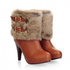 Fashion Faux Fur and Buckle Design Short Boots For Women, BROWN, 39 in Boots | DressLily.com