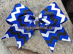 "3"" Width Cheer Bow 7""x7"" Texas Size Cheer Bow Royal Black and White Chevron Glitter Big Bow"