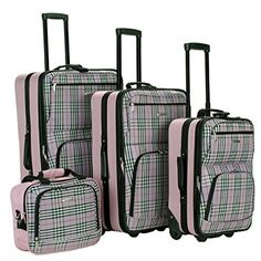 (Limited Supply) Click Image Above: Rockland Luggage 4 Piece Expandable Luggage Set Pink Plaid - Rockland Luggage Luggage Sets Luggage Sets, Travel Luggage, Travel Bags, Rockland Luggage, Skate Wheels, Cosmetic Case, Shoulder Strap, Tote Bag, Duffle Bags