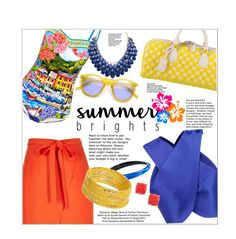 """""""Summer Brights"""" by ceci-alva ❤ liked on Polyvore featuring Dolce&Gabbana, River Island, Carven, Louis Vuitton, Alexis Bittar, Dorothy Perkins, BP. and INDIE HAIR"""