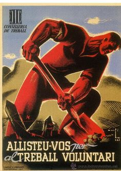 CARTELL CATALÀ GUERRA CIVIL. ALLISTEU-VOS PER AL TREBALL VOLUNTARI. MARTÍ BAS, 1936. (Papel - Carteles Gran Formato - Carteles Guerra Civil)