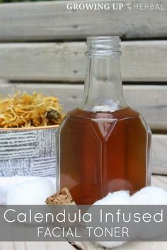 DIY Calendula Infused Facial Toner | GrowingUpHerbal.com | Clean and sooth your face naturally with herbs!