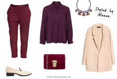 Burgundy and purple color combination outfit - Styled by Manon