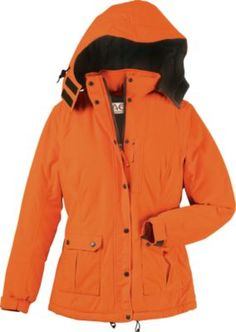 High-visibility, full-featured blaze outerwear with a cut and fit that's tailored especially for women. Each piece has an extremely quiet, microbrushed tricot shell backed by a polyurethane laminate for waterproof, breathable comfort in adverse conditions. A versatile blaze waterproof, breathable parka with polyfill insulation for warmth on mid- to late-season hunts.