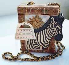 Mary Frances Hard Case Purse Bag Zebra Motif Chain Strap NWT