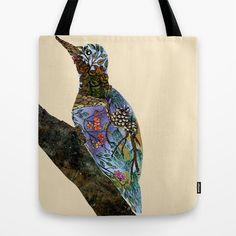 The Woodpecker Tote Bag #woodpecker #bird #wood #flowers #pines #cones #sky #tree #nature