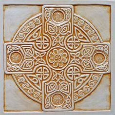 Website for this image celtic cross tile. NEW 8 x 8 Relief carved Celtic Cross… Celtic Symbols, Celtic Art, Celtic Knots, Celtic Crosses, Celtic Patterns, Celtic Designs, Home Crafts, Arts And Crafts, Handmade Tiles