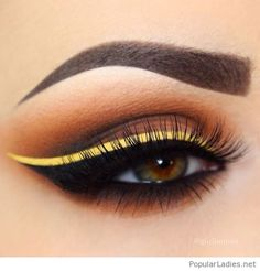 Nude eye makeup and yellow line