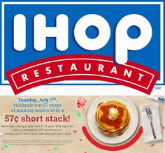Pinned July 5th: Almost-free pancakes Tuesday at #IHOP #coupon via The #Coupons App