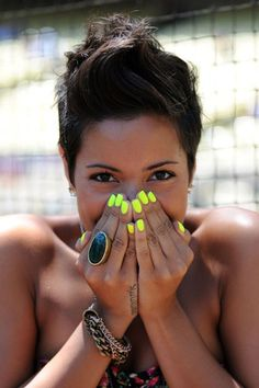Can't get enough of these neon yellow nails.