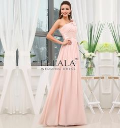 Summer Ladies Young/Simple/Affordable Elegant Pearl Pink Chiffon A Line/Princess One Shoulder Long Maternity Bridesmaid Dresses/Prom Dresses/Party Dresses With Sash Flower Ruche