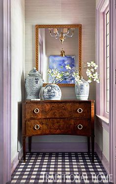 Chinoiserie Chic: The Chinoiserie Foyer designed by Traci Zeller for the Traditional Home showhouse. Entry way foyer lavendar lilac purple, antique, home design ideas, interior design inspiration Design Entrée, House Design, Design Ideas, Design Inspiration, Home Decoracion, Small Space Interior Design, Small Entryways, Stick On Tiles, Chinoiserie Chic