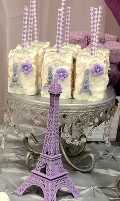 Dressed up Rice Krispie treats at a Paris Quinceañera birthday party! See more party planning ideas at CatchMyParty.com!