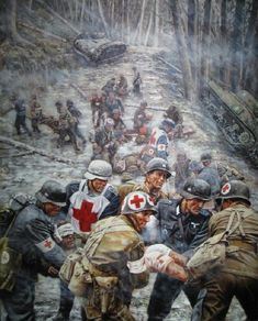 Battle of Hurtgen Forest. The lines fluctuated so much in the fighting that eventually medics stopped evacuating back and forth- US Army and German medics simply operated the same field hospitals alongside each other. Military Art, Military History, Army Medic, Ww2 Pictures, Ardennes, Poster Prints, Art Prints, Panzer, Luftwaffe