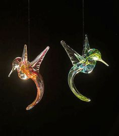 Hand Blown Glass Hummingbird Sun Catcher ~ Unique holiday gift keeps tiny spites around all year. Like nature, no two birds are exactly alike!
