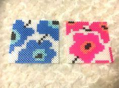 マリメッコ風アイロンビーズコースター Diy Perler Beads, Perler Bead Art, Pearler Bead Patterns, Perler Patterns, Peler Beads, Iron Beads, Melting Beads, Cross Stitch Cards, Beaded Crafts