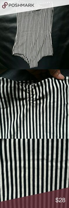 AA black and white striped tube bodysuit Worn once (with underwear!). Like new condition. Ruching at the bust creates a sweetheart neckline. Length 18 inches. 92% cotton. 8% elastane. American Apparel Tops