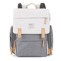 For Lan Eddie Bauer Backpack - Gray/Tan Buy Backpack, Diaper Bag Backpack, Fashion Backpack, Diaper Bag Checklist, Diaper Bag Essentials, Eddie Bauer Diaper Bag, Eddie Bauer Baby, Baby Rucksack, Cute Backpacks For School