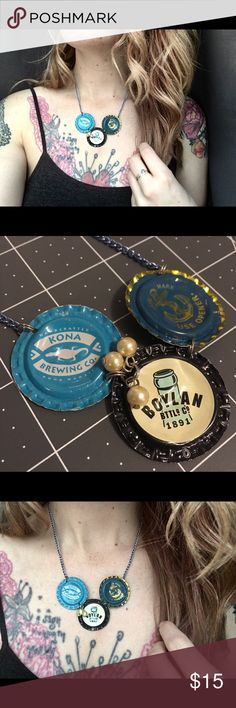 🍾 Bottlecap Necklace 🍾 A trio of flattened bottle caps adorn this handmade and upcycled necklace. One of a kind and awesome! Panic in Polkadots Jewelry Necklaces
