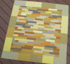 "Serendipity Wall Quilt, Modern, Improvisation, Gold and Gray, 48"" x 51"""