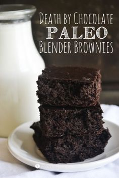 Death by Chocolate Paleo Blender Brownies // deliciousobsessions.com // #paleo #primal #grainfree #glutenfree #dairyfree #chocolate