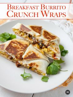 The breakfast crunch wrap filled with eggs, vegetables and cheese. The perfect breakfast burrito for the indecisive Tex-Mex lover!