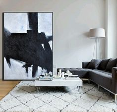 Hand Painted minimal art on canvas, minimalist painting, black and white art from CZ ART DESIGN. @CeilneZiangArt