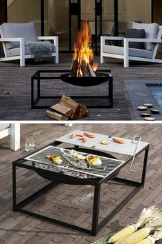 Brazier barbecue design in powder-coated black steel Slide Brazier barbecue .