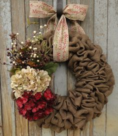 Beige and Red Hydrangea Christmas Wreath-Brown Burlap Christmas Wreath-Hydrangea Christmas Wreath-Holiday Burlap-Merry Christmas Wreath listed $70