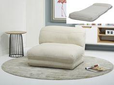Chauffeuse en tissu convertible - coloris beige - PETIA