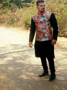 Black kurtha with digital print jacket