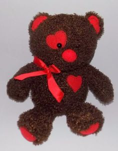 15-034-DANDEE-Just-Plush-DARK-BROWN-Red-Hearts-CHOCOLATE-SCENTED-Curly-Bear-5