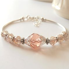 Blush Pink Bridesmaid Bracelets Faceted Crystal Beaded Jewelry Pink Champagne Wedding Jewelry Sets Bridesmaid Jewelry Spring Weddings