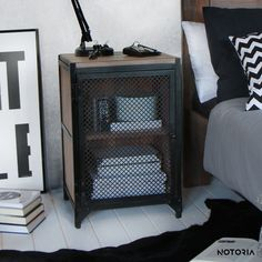 CLOVER bedside cabinet table nightstand black metal industrial